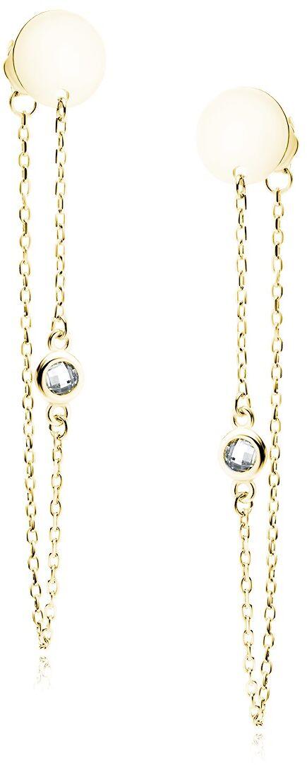 Delikatne pozłacane srebrne wiszące kolczyki celebrytki kółko circle cyrkonia łańcuszek srebro 925 Z1815EG_W