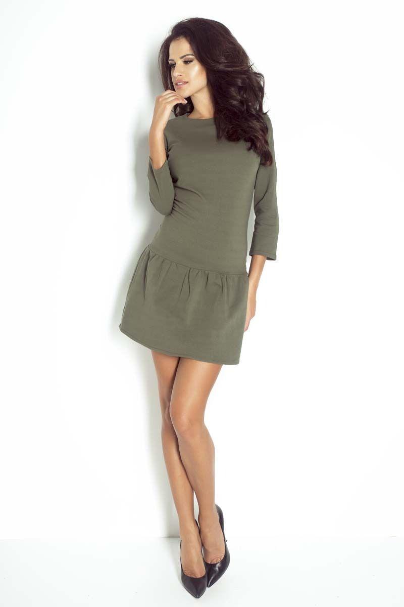 Khaki sukienka mini z falbanką