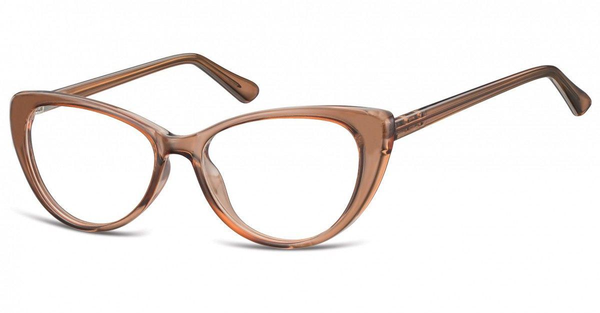 Okulary oprawki korekcyjne Kocie Oczy zerówki Sunoptic CP138E jasnobrązowy