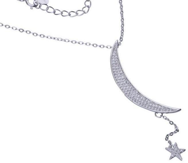 Srebrny naszyjnik 925 krawatka księżyc gwiazdka