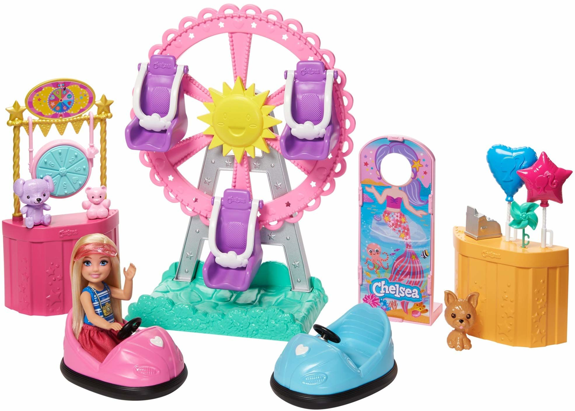 Barbie GHV82 , Chelsea Wesołe Miasteczko Zestaw Do Zabawy Z Lalką I Akcesoriami Ghv82