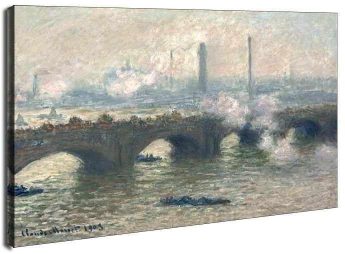 Waterloo bridge, gray day, claude monet - obraz na płótnie wymiar do wyboru: 70x50 cm