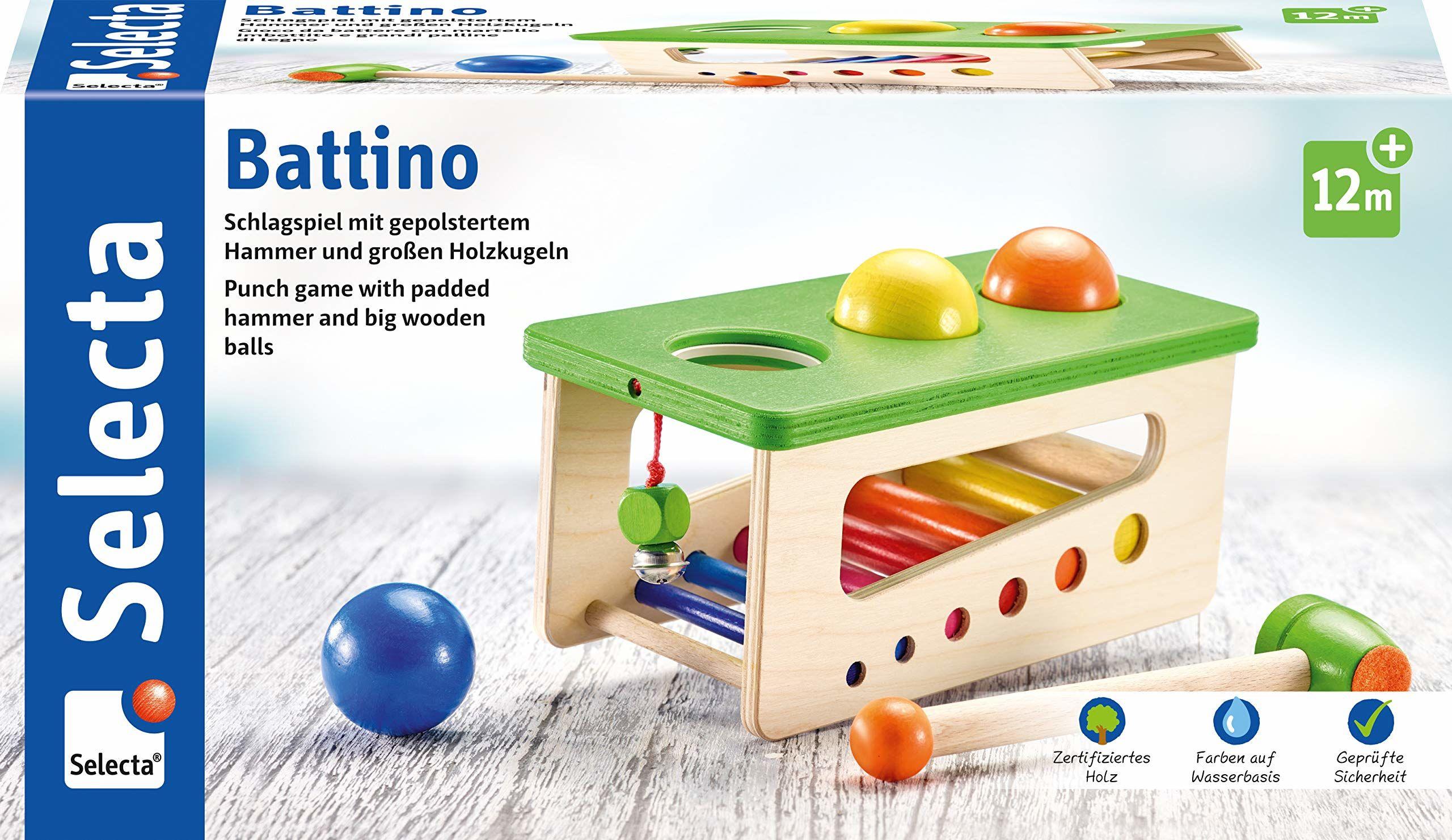 Selecta 62017 Battino, drewniana gra uderzeniowa, 22 cm