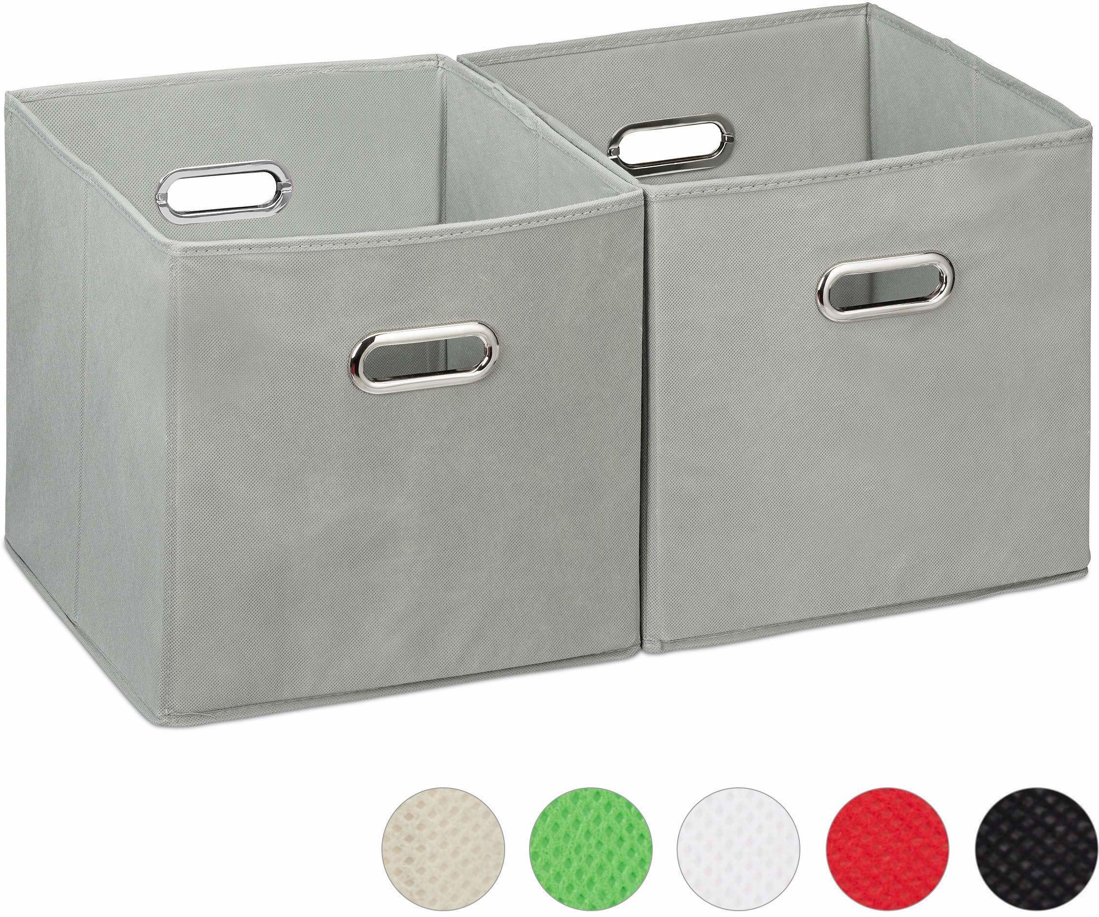 Relaxdays, Szare pudełko do przechowywania zestaw 2 szt. kosz regałowy bez pokrywki, z uchwytem, składane, pudełko z materiału kwadratowe, 30 cm, poliester, karton, 30 x 30 x 30 cm, 2