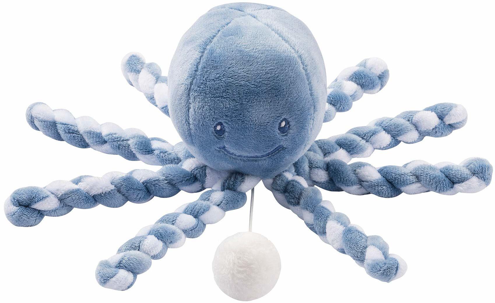 Nattou Zegar z pozytywką Oktopus, Wagelied La-Le-Lu , dla noworodków i wcześniaków, 23 cm, Lapidou, niebieski/jasnoniebieski