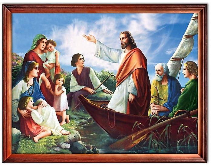Obraz Jezus Chrystus nauczający z łodzi