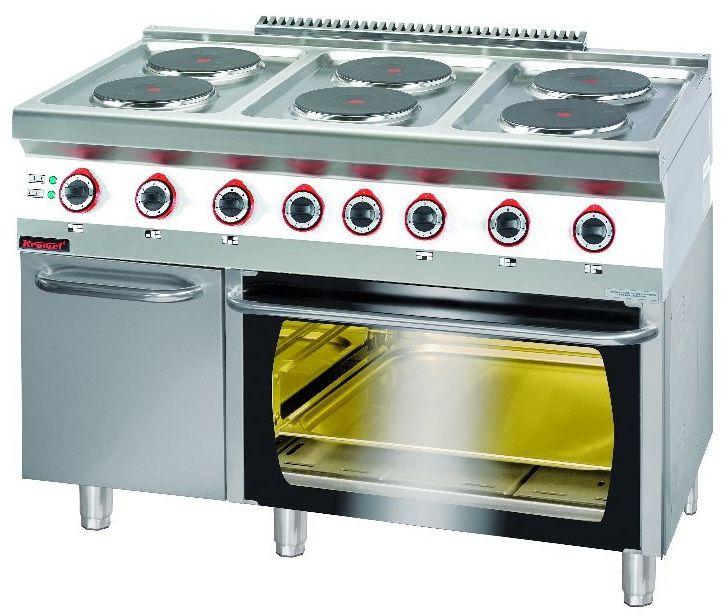 Kuchnia gastronomiczna elektryczna 6-płytowa z piekarnikiem el. KROMET 700.KE-6/PE-2/SD