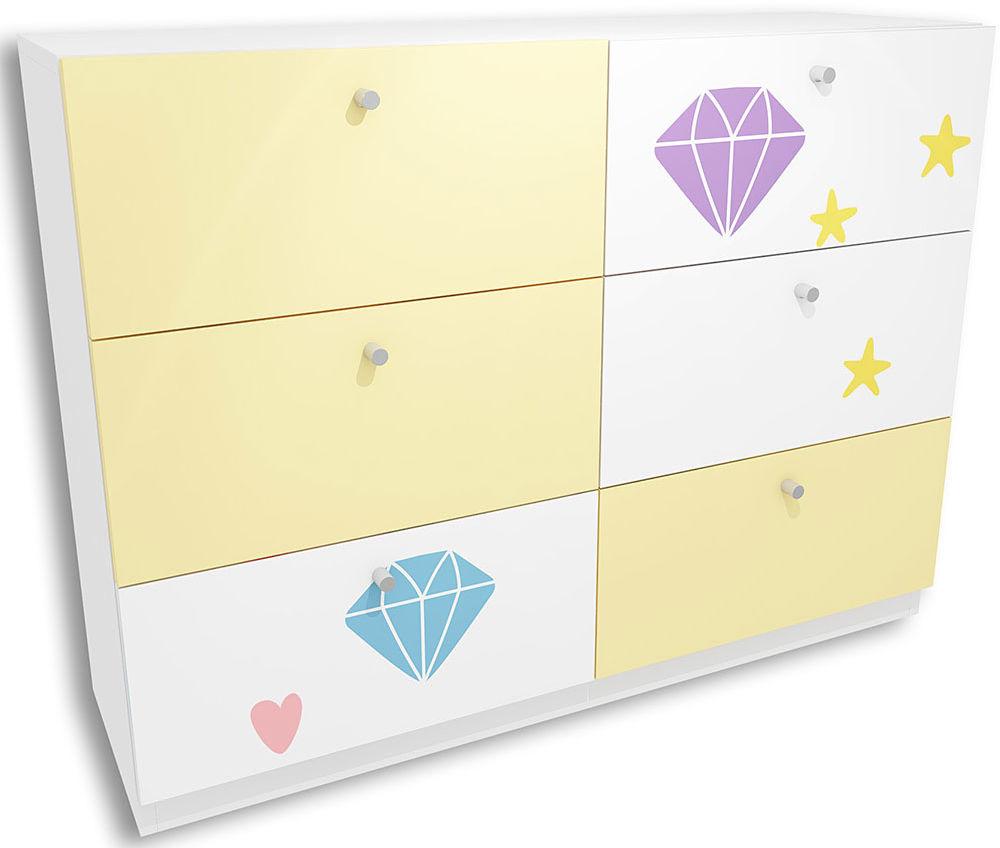 Biało-żółta komoda dla dziewczynki z szufladami Lili 6X - 3 kolory