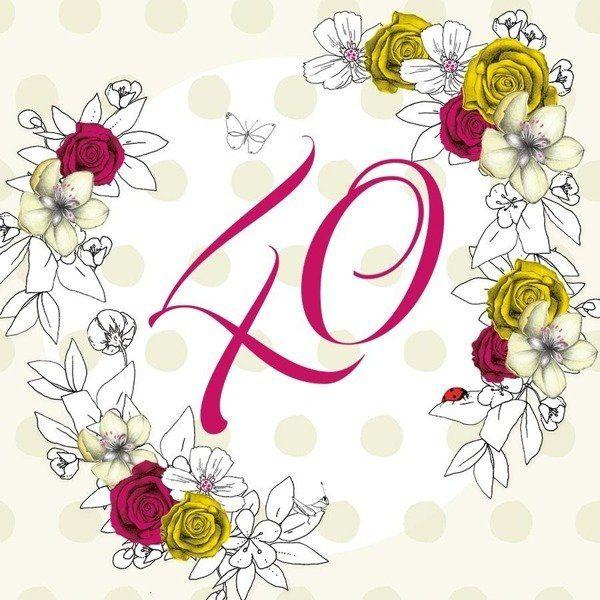 Karnet Swarovski kwadrat CL1440 Urodziny 40 kwiaty