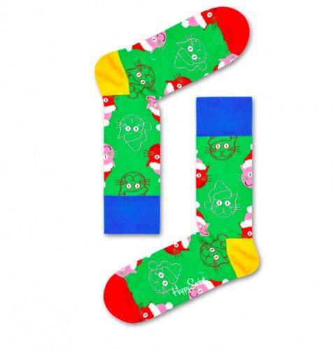 Happy Socks skarpetki SCAT01-7300 bawełna r.41-46 Święta KOT
