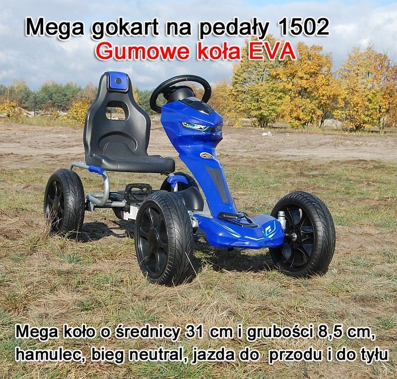 MEGA GOKART MIĘKKIE KOŁA EVA 5-12 lat, DO 60 KG/1502