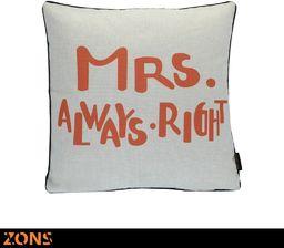 Word poduszka Look Design Orange 45 x 45 cm + wypełnienie 480 g poduszka auto poduszka na sofę poduszka (6 wzorów) (Mrs Always Right)