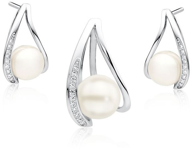 Elegancki rodowany srebrny komplet z perłami i cyrkoniami perła perły krople cyrkonie srebro 925 Z1595Z