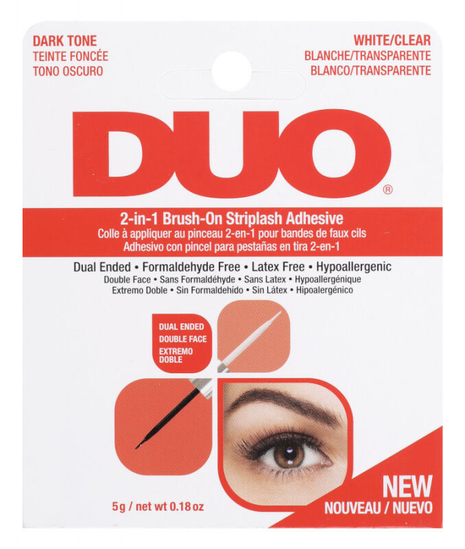 DUO - 2in1 Brush On Striplash Adhesive - Klej do rzęs 2w1 - Black/White