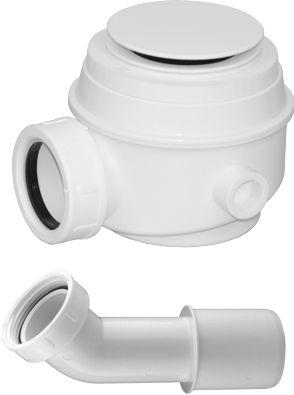 Syfon brodzikowo-wannowy 50 mm i do wanien bez przelewu klik klak+kolanko,biały