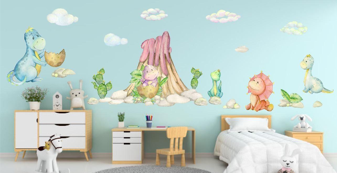 Naklejka z dinozaurami pod wulkanem