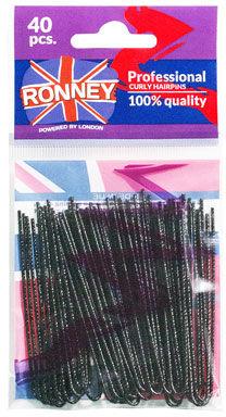 Ronney Profesjonalne kokówki do włosów Długie, czarne, karbowane 40 szt.