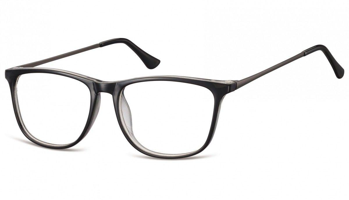 Okulary oprawki korekcyjne Nerdy zerówki Sunoptic CP142A czarne + przezroczyste