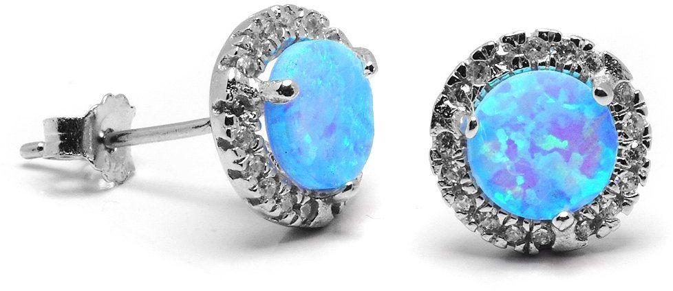 Srebrne Kolczyki Jasnoniebieski Opal i Cyrkonie