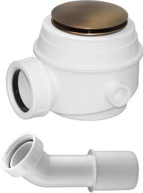 Syfon brodzikowo-wannowy 50 mm i do wanien bez przelewu klik klak+kolanko,BRĄZ ANTYCZNY