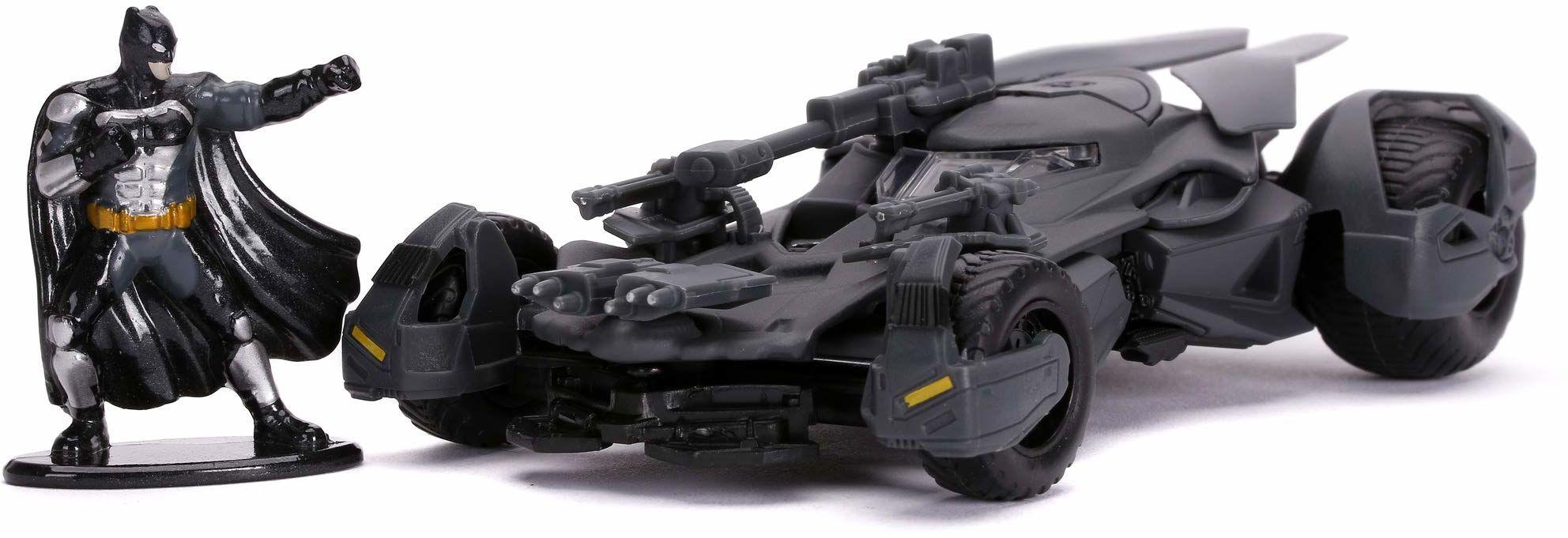 Jada Toys 253213005 Justice League Batmobile, zabawkowy samochód, otwierane drzwi, Die-Cast, wraz z figurką Batmana, skala 1:32, szary, czarny
