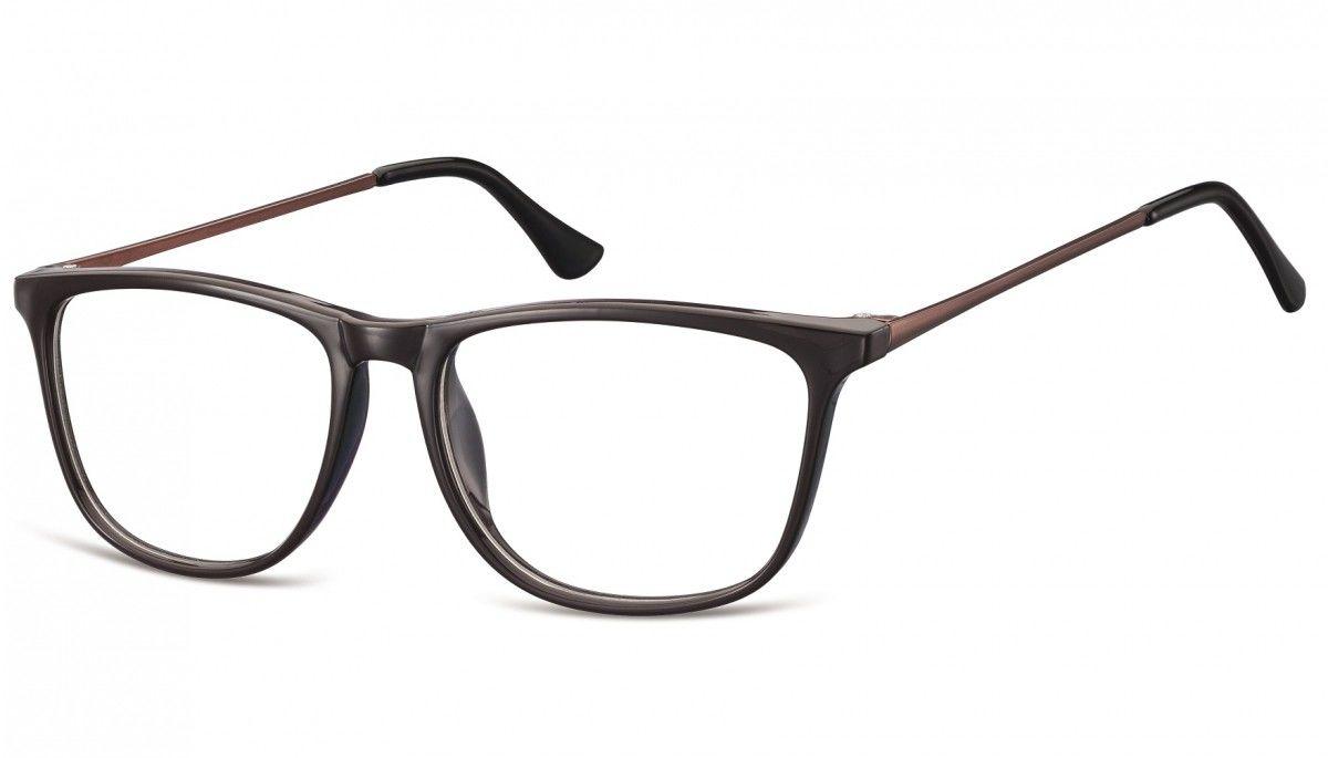 Okulary oprawki korekcyjne Nerdy zerówki Sunoptic CP142C ciemnobrązowe