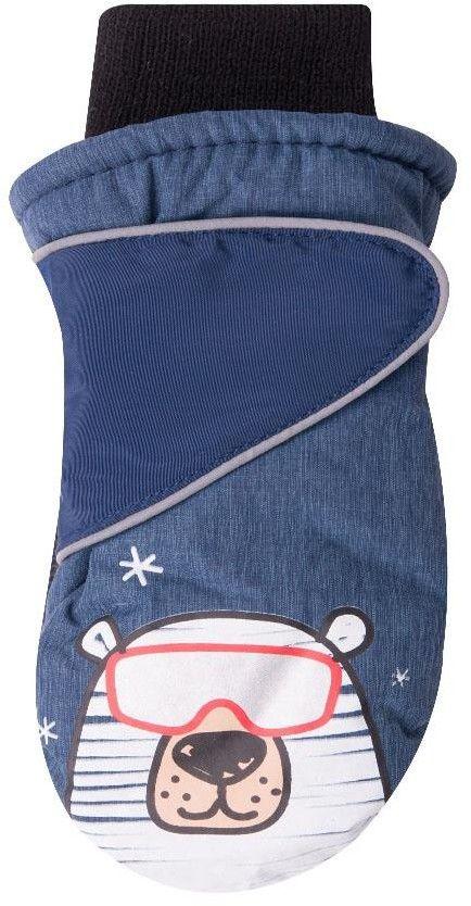 Rękawiczki narciarskie granatowe miś polarny w okularach