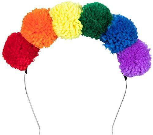 Boland 44730  pompon-tiara tęcza, opaska do włosów z wielokolorowymi pomponami, ozdoba na głowę, CSD, karnawał, impreza tematyczna