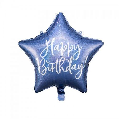 Balon foliowy Holo Urodziny, granatowy
