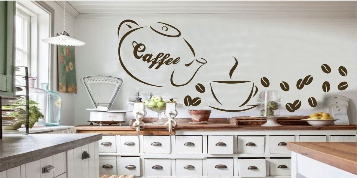 Naklejka z imbryczkiem Caffe i ziarnami kawy