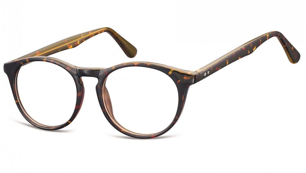 Okulary oprawki korekcyjne okrągłe Lenonki zerówki Sunoptic CP146 panterka-szylkret
