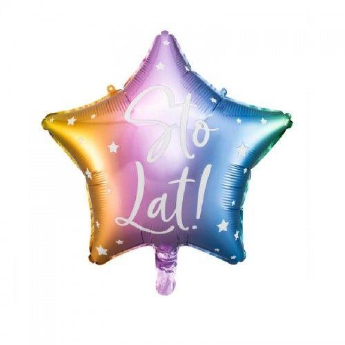Balon foliowy Gwiazda, tęczowe ombre Sto Lat