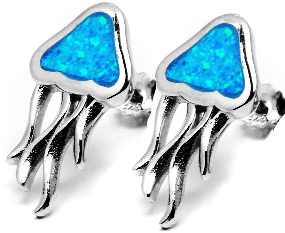 Srebrne Kolczyki Ozdobione Niebieskim Opalem