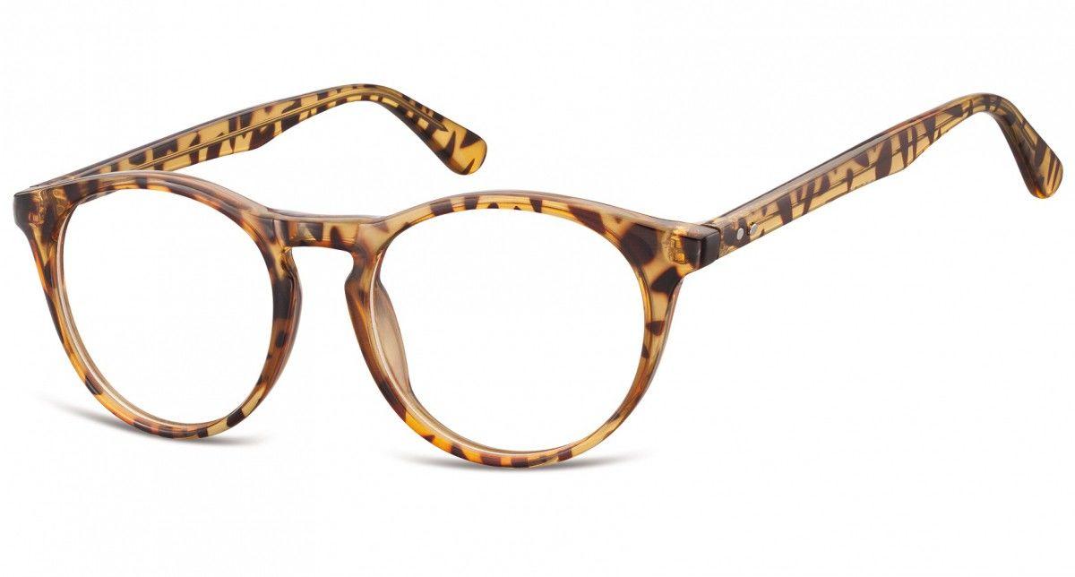 Okulary oprawki korekcyjne okrągłe Lenonki zerówki Sunoptic CP146B jasny szylkret