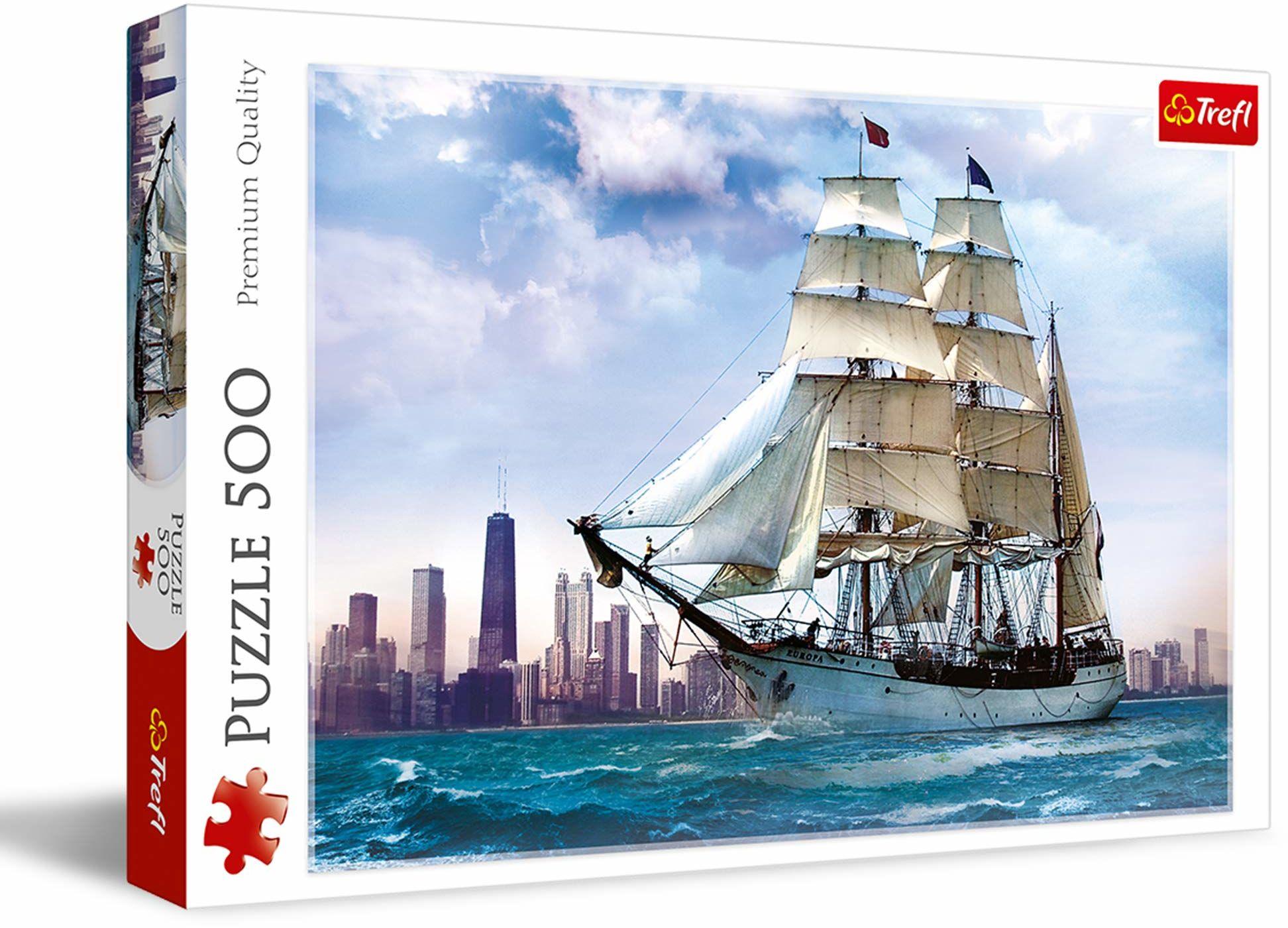 Trefl Żaglowiec na tle Chicago Puzzle 500 Elementów o Wysokiej Jakości Nadruku dla Dorosłych i Dzieci od 10 lat