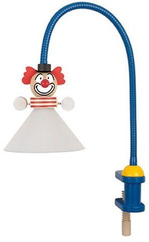 Niermann-Standby 233 - lampa zaciskowa Clown elastyczna rura ok. 50 cm, zacisk z drewna, klosz z odpornego na pęknięcia poliwęglanu, 1 x G4, wtyczka Schuko z przełącznikiem pośrednim