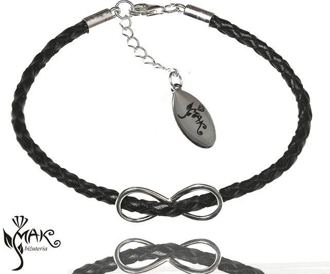 MAK-Biżuteria BR605 BRANSOLETKA INFINITY NIESKOŃCZONOŚĆ rzemień