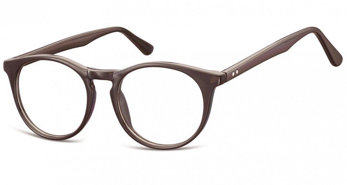 Okulary oprawki korekcyjne okrągłe Lenonki zerówki Sunoptic CP146C ciemnobrązowe