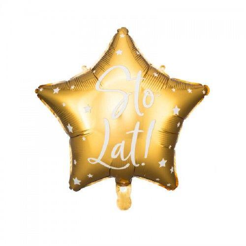 Balon foliowy złota gwiazda Sto Lat