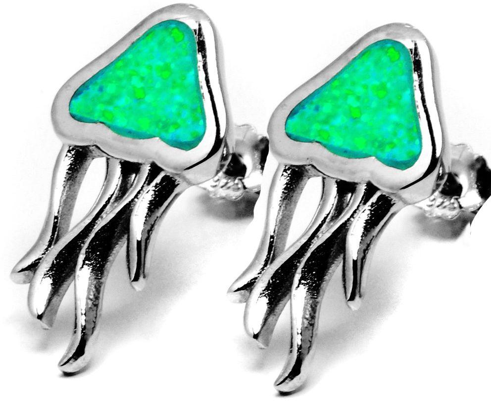 Srebrne Kolczyki Ozdobione Zielonym Opalem