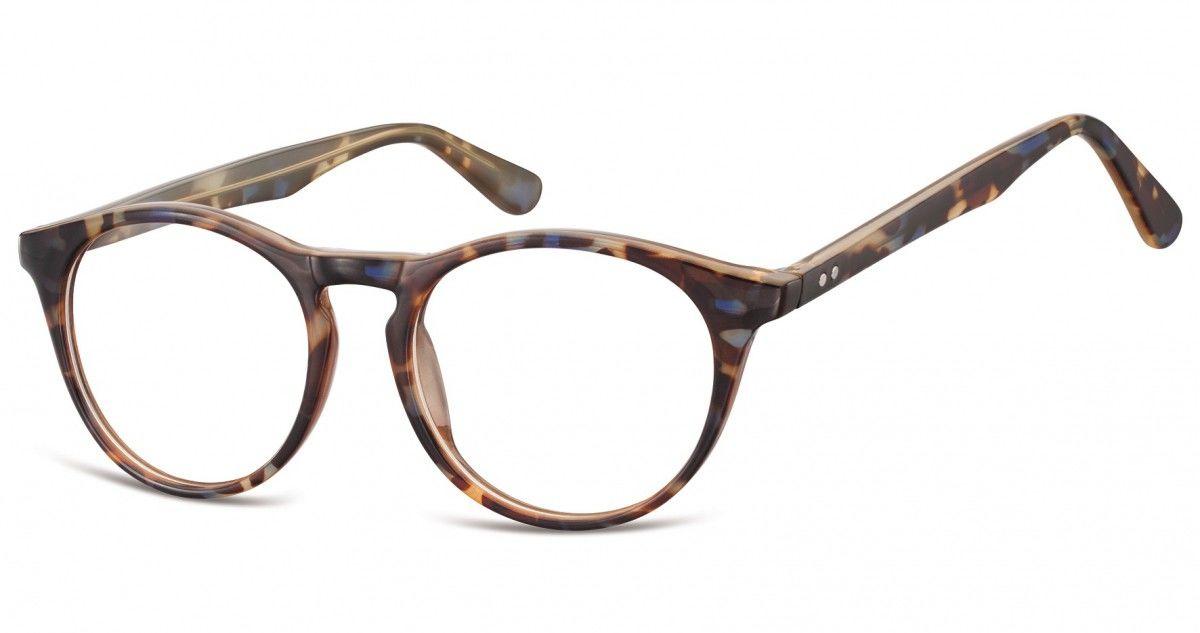 Okulary oprawki korekcyjne okrągłe Lenonki zerówki Sunoptic CP146D szylkret mix