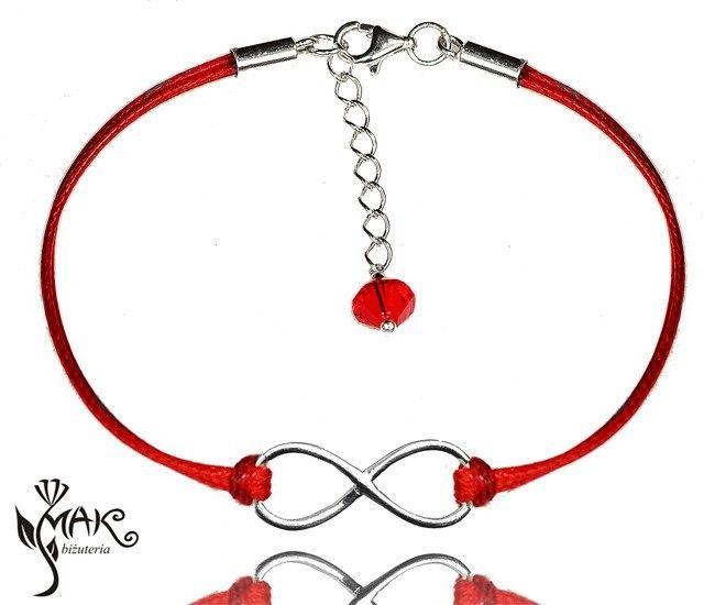 MAK-Biżuteria BR618 BRANSOLETKI INFINITY, NIESKOŃCZONOŚĆ 925 czerwień