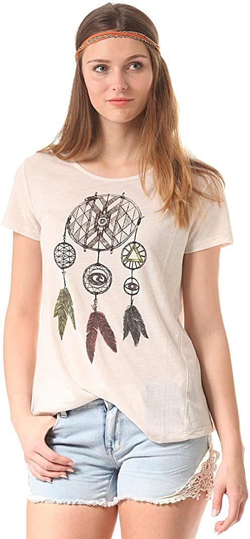 Rip Curl Damska koszulka z krótkim rękawem łapacz snów z okrągłym dekoltem Żółty (Vanilla Marl) 12