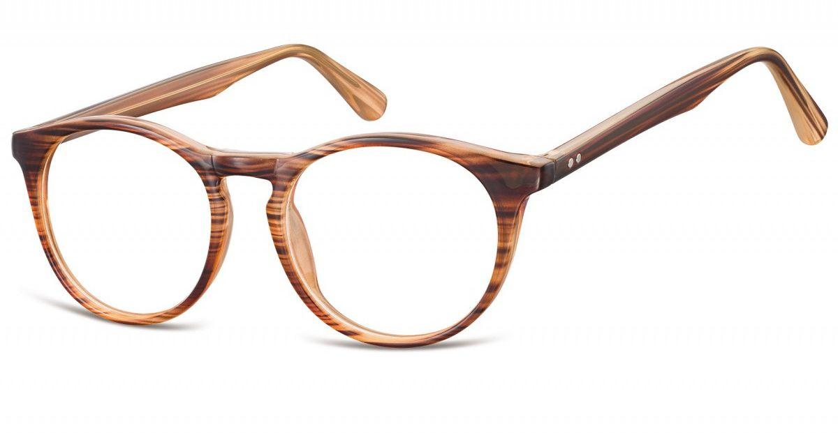 Okulary oprawki korekcyjne okrągłe Lenonki zerówki Sunoptic CP146F brązowy - imitacja drewna