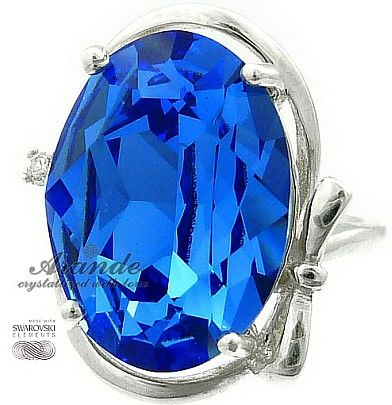 Kryształy Przepiękny Pierścionek Sapphire Srebro