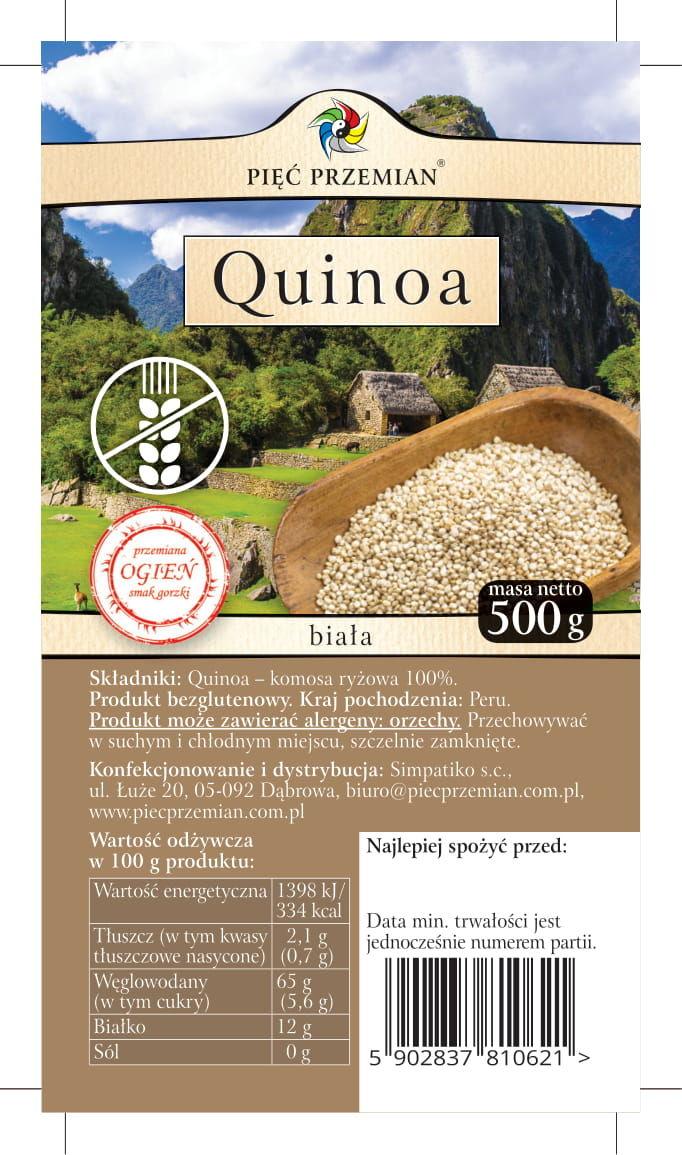 Quinoa Biała Komosa Ryżowa bezglutenowa 500g - Pięć Przemian