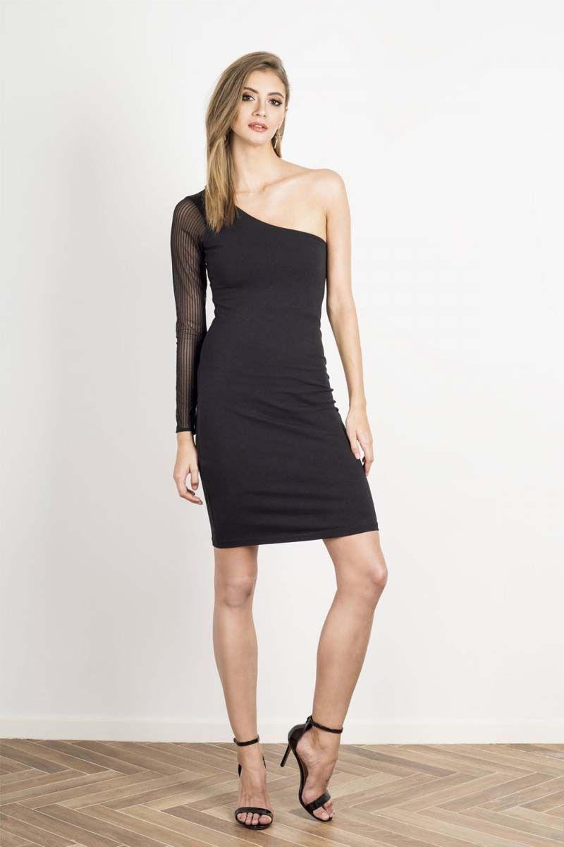 Ołówkowa sukienka na jedno ramię