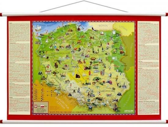 Mapa ścienna - Polska Młodego Odkrywcy ZAKŁADKA DO KSIĄŻEK GRATIS DO KAŻDEGO ZAMÓWIENIA