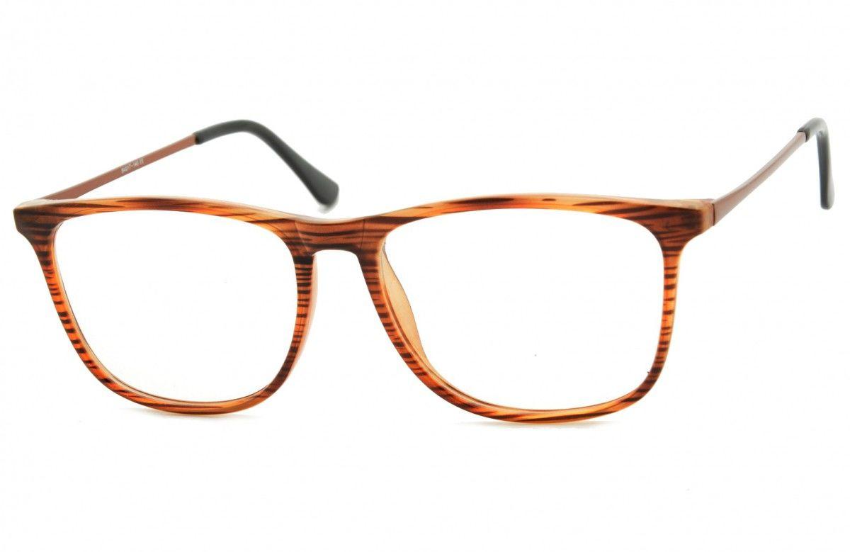 Okulary oprawki korekcyjne Nerdy zerówki Sunoptic CP142G brązowe - imitacja drewna
