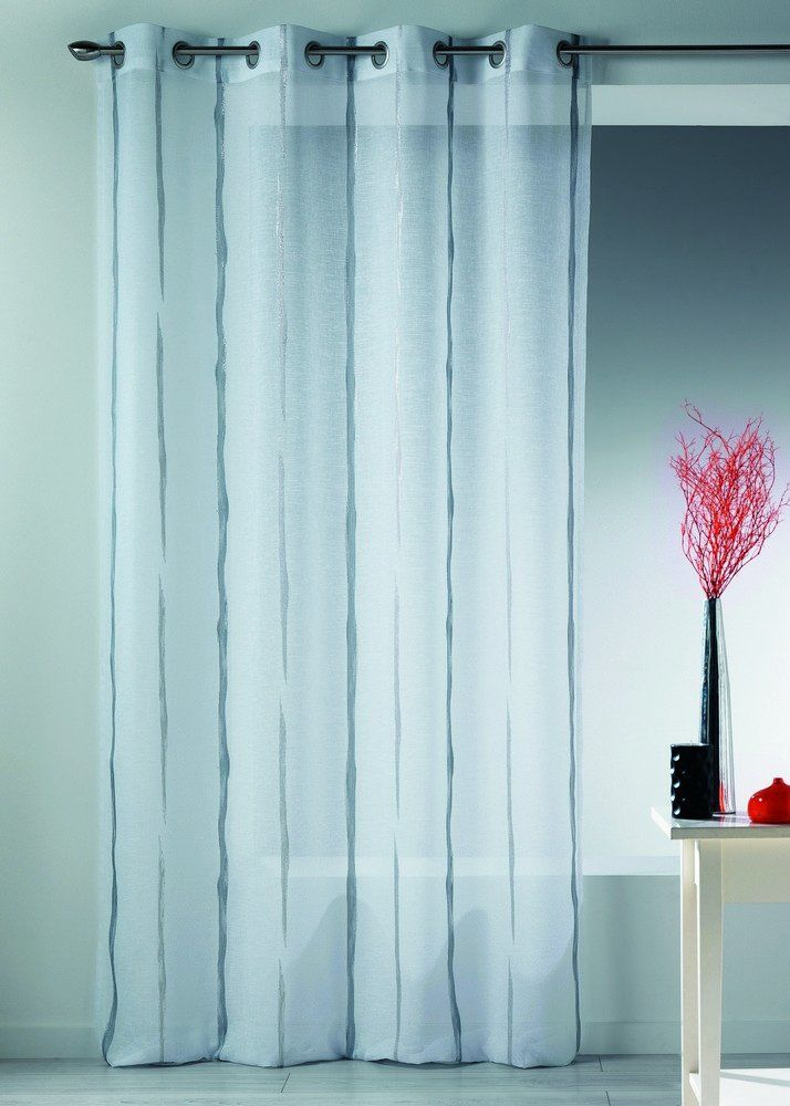 Home Maison 09335-8-AL zasłona Etamin, z oczkami, żakard), krótkie nici, szara/srebrna, 140 x 260 cm
